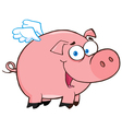 Happy pig flying cartoon character vector | Price: 1 Credit (USD $1)