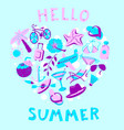 heart shape with summer objects beach items in vector image vector image