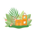 house in construction process in spring or summer vector image vector image