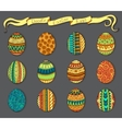 Ink hand-drawn doodle Easter set with eggs vector image vector image