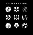 inspirational leaves bundle logo vector image