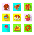 isolated object of confectionery and culinary icon vector image vector image