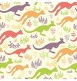 Jumping kangaroo seamless pattern background vector image