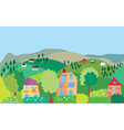 Landscape with mountain hills cows trees village vector image vector image