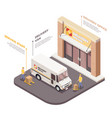 logistics company isometric composition vector image vector image
