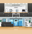 modern kitchen interior design banners vector image