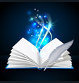 open book with mystic bright light and feather vector image vector image