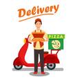 pizza delivery man cartoon vector image vector image