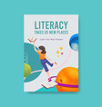 poster template with international literacy day vector image vector image