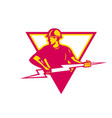 power lineman with thunderbolt triangle vector image vector image