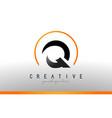 q letter logo design with black orange color cool vector image