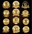retro vintage anniversary golden badges vector image vector image