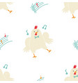 seamless pattern with cute dancing chicken little vector image