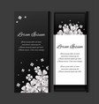set of flyers with paper sakura flowers on a vector image