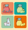 set of fruits drinks vector image