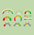 set of speedometers measuring vector image vector image