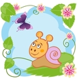 Snail and butterfly among flowers vector image vector image