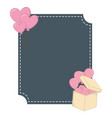 square frame and heart shaped balloons vector image