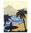Summer Beach with silhouette vector image vector image