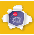 summer sale banner in realistic torn paper vector image