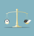 time and work on balance scale vector image vector image