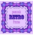 Violet frame with painted peacock feathers and vector image vector image