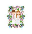 wedding couple groom and bride cartoon flowers vector image vector image