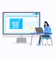 woman buyng goods in internet empty basket on site vector image vector image