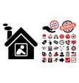 Workshop Building Flat Icon with Bonus vector image