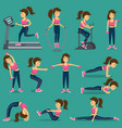 woman that does physical exercise in sortswear vector image