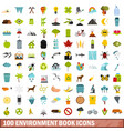 100 environment book icons set flat style vector image vector image