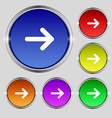 Arrow right Next icon sign Round symbol on bright vector image vector image