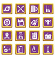 auto repair icons set purple square vector image vector image