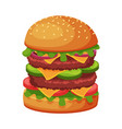 big hamburger with cheese lettuce meat patties vector image
