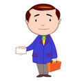 businessman with briefcase and calling card vector image vector image