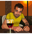 cartoon smiling man sitting at a table vector image vector image