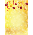 christmas gold background balls stars vector image