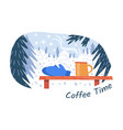 coffee time for hiker skier and snowboarder vector image