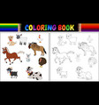 coloring book farm animals collection vector image vector image