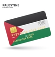 Credit card with Palestine flag background for vector image vector image