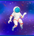 cute astronaut in pixel art style on space vector image vector image