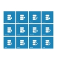 Database icons on blue background vector image vector image