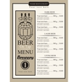 draft beer menu vector image vector image