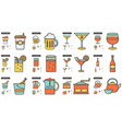 drinks line icon set vector image vector image
