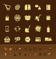 Ecommerce color icons on brown background vector image vector image