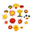 explosion icons set in flat style vector image