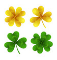 gold and green clover leaves isolated on white vector image vector image