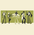 group five wearing hippie clothes 60s vector image vector image