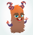 Happy cartoon orange and fluffy horned monster vector image vector image