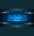 happy new 2020 year futuristic glowing frame vector image vector image